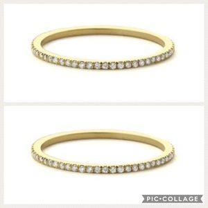 Jewelry - TWO 14k Micro Pave Diamond Eternity Wedding Rings
